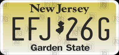 US New Jersey State Number