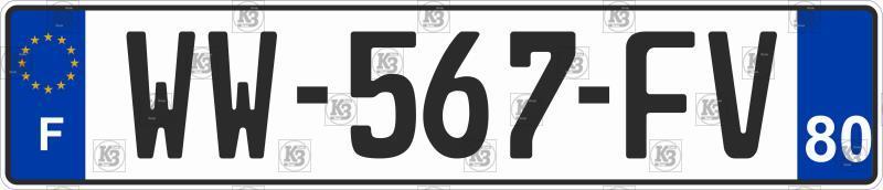 Автомобильный номер Франции