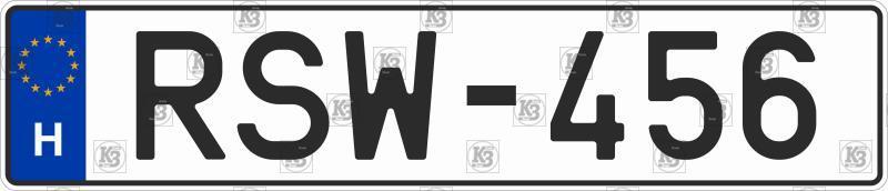 Duplicate Hungarian number plates, original font