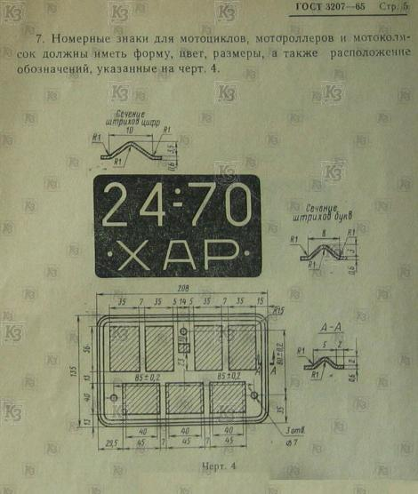 GOST 3207. Number on USSR motorcycle